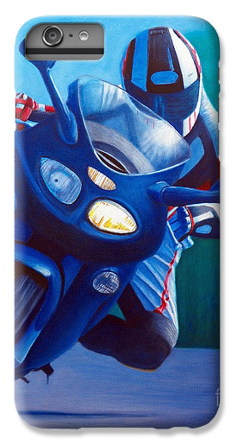 Motorcycle IPhone 6 Plus Case featuring the painting Triumph Sprint - Franklin Canyon by Brian Commerford