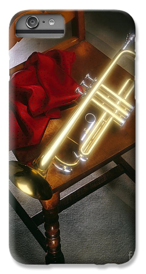 Trumpet IPhone 6 Plus Case featuring the photograph Trumpet On Chair by Tony Cordoza