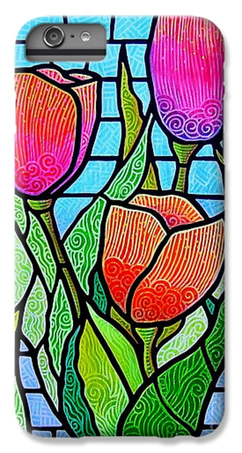 Tulips IPhone 6 Plus Case featuring the painting Tulip Garden by Jim Harris