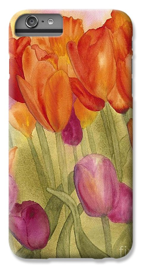Tulips IPhone 6 Plus Case featuring the painting Tulip Glory by Louise Magno