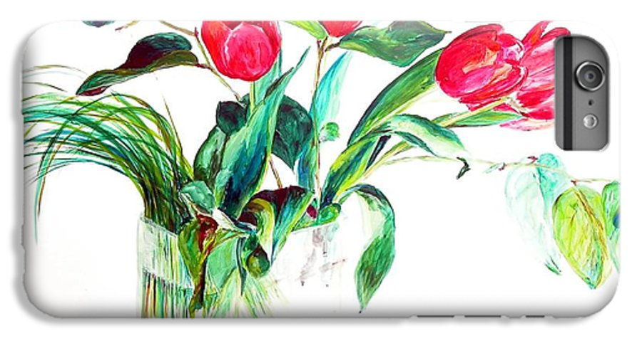Flower IPhone 6 Plus Case featuring the painting Tulipes by Muriel Dolemieux