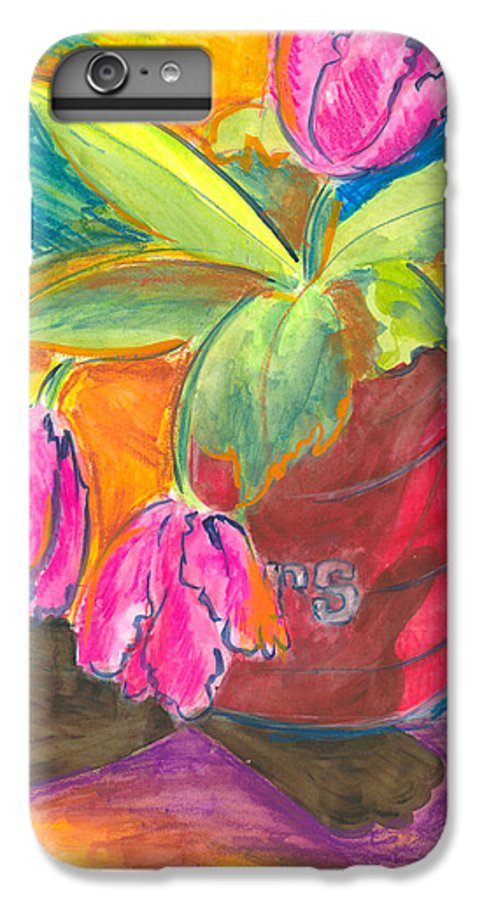 Flowers IPhone 6 Plus Case featuring the painting Tulips In Can by Jean Blackmer