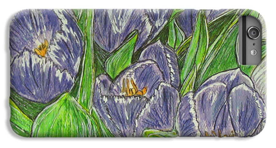 Tulips IPhone 6 Plus Case featuring the painting Tulips In The Spring by Kathy Marrs Chandler