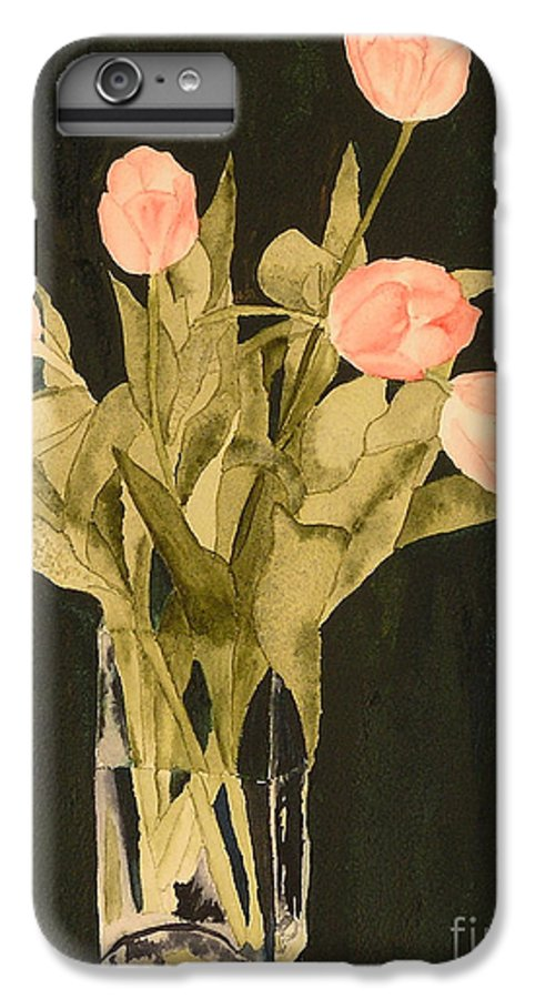 Tulips IPhone 6 Plus Case featuring the painting Tulips On Velvet by Louise Magno