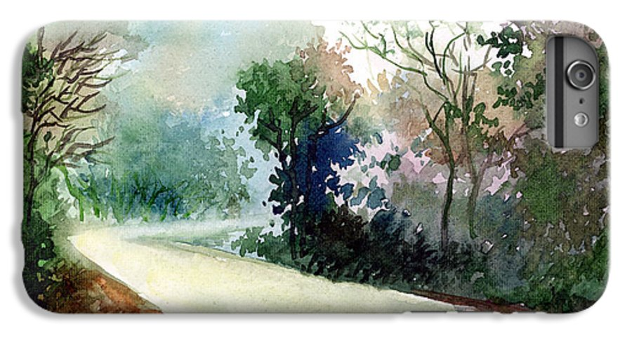 Landscape Water Color Nature Greenery Light Pathway IPhone 6 Plus Case featuring the painting Turn Right by Anil Nene