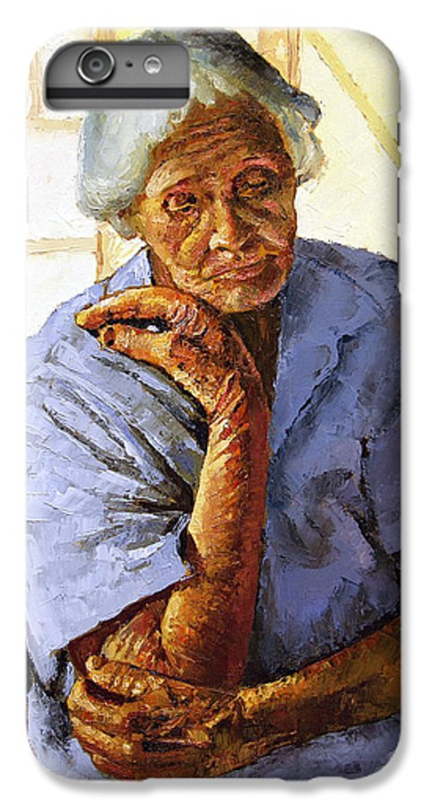 Old Woman IPhone 6 Plus Case featuring the painting Turning Inward by John Lautermilch