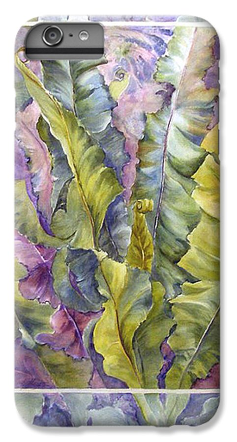 Ferns;floral; IPhone 6 Plus Case featuring the painting Turns Of Ferns by Lois Mountz