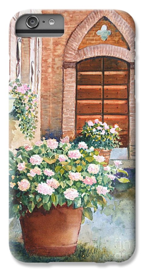 Tuscan IPhone 6 Plus Case featuring the painting Tuscan Courtyard by Ann Cockerill