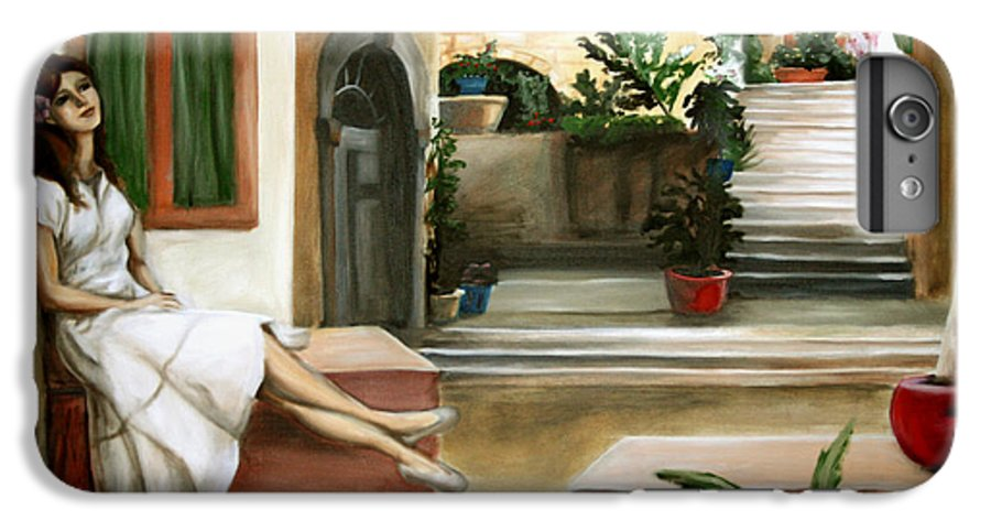 Portrait IPhone 6 Plus Case featuring the painting Tuscan Courtyard by Maryn Crawford