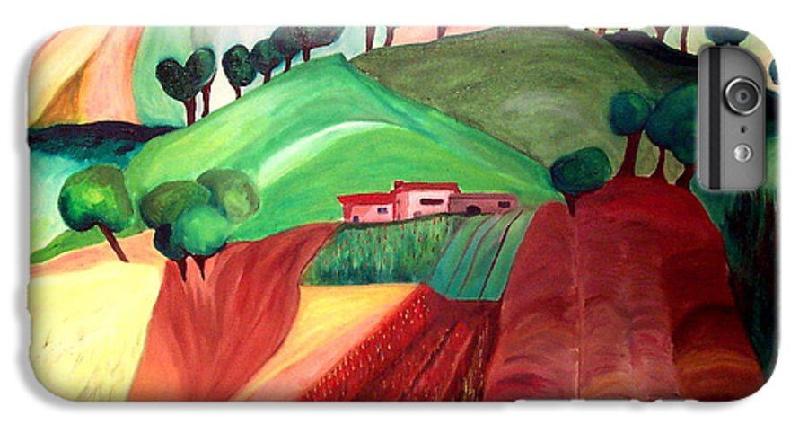 Abstract IPhone 6 Plus Case featuring the painting Tuscan Landscape by Patricia Arroyo