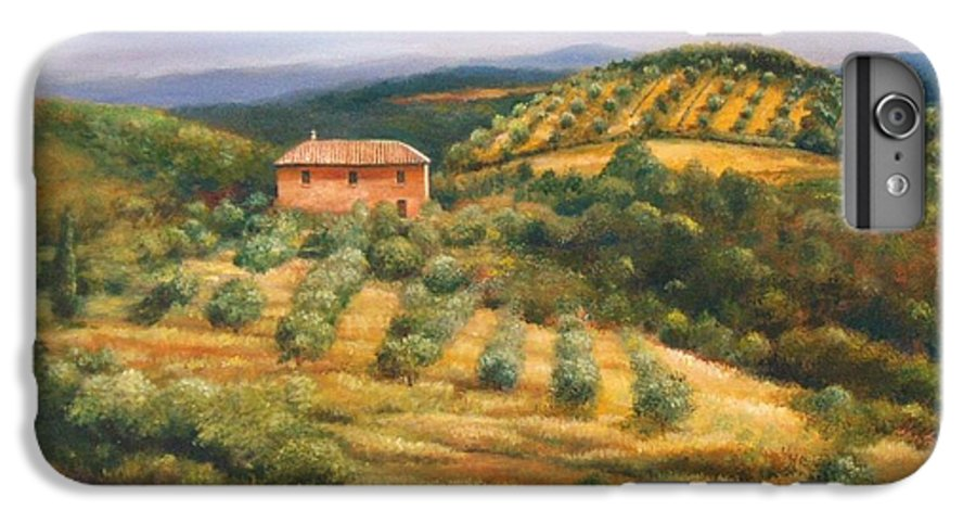 Landscape IPhone 6 Plus Case featuring the painting Tuscan Summer by Ann Cockerill