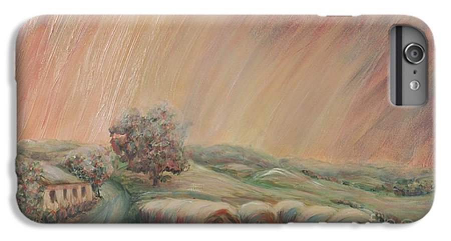 Landscape IPhone 6 Plus Case featuring the painting Tuscany Hayfields by Nadine Rippelmeyer