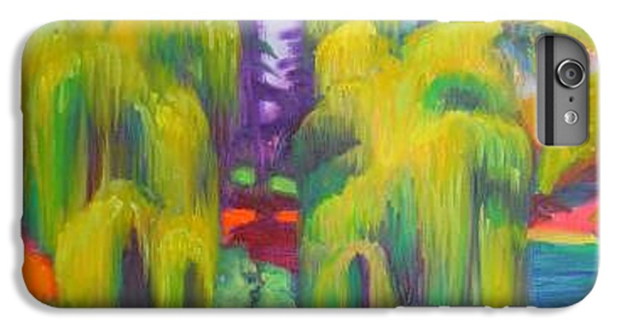 Landscape IPhone 6 Plus Case featuring the painting Twin Willows Chicago Botanical Gardens by David Dozier