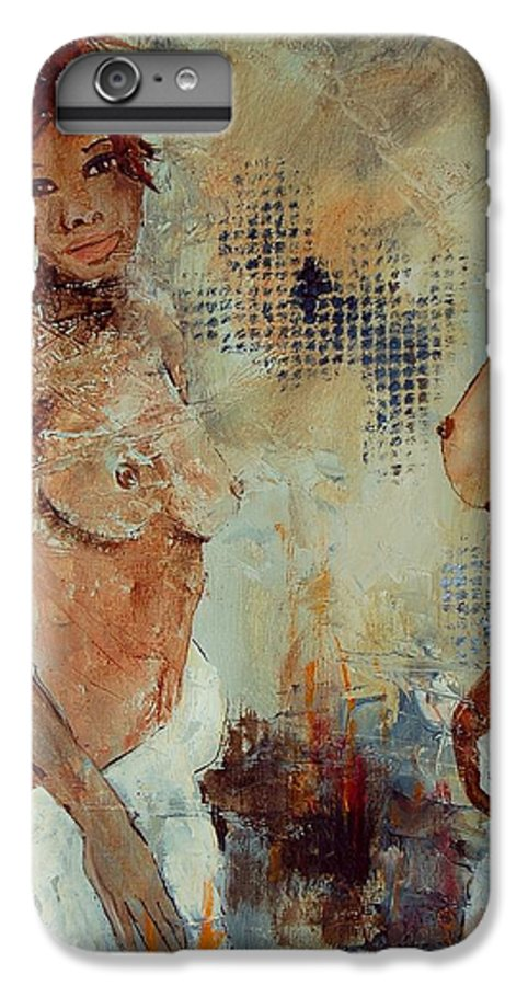 Girl Nude IPhone 6 Plus Case featuring the painting Two Black Sisters by Pol Ledent