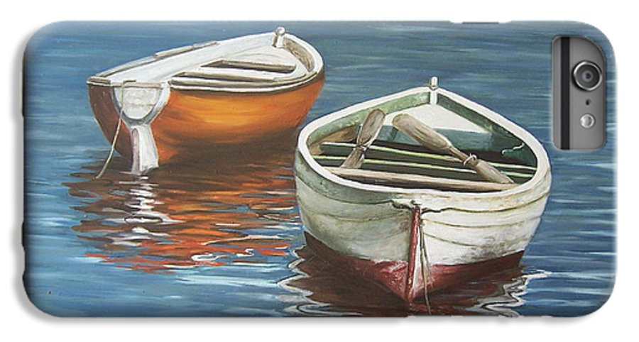 Boats Reflection Seascape Water Boat Sea Ocean IPhone 6 Plus Case featuring the painting Two Boats by Natalia Tejera