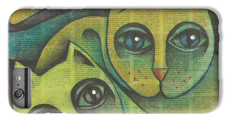 Sacha Circulism Circulismo IPhone 6 Plus Case featuring the drawing Two Cats 2000 by S A C H A - Circulism Technique
