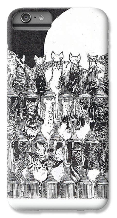 Cats IPhone 6 Plus Case featuring the drawing Two Dozen And One Cats by Seth Weaver
