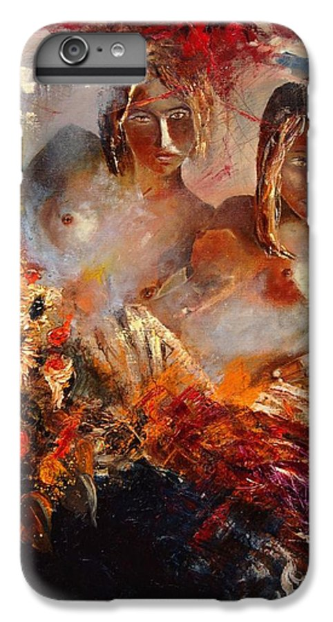 Girl Nude IPhone 6 Plus Case featuring the painting Two Friends by Pol Ledent