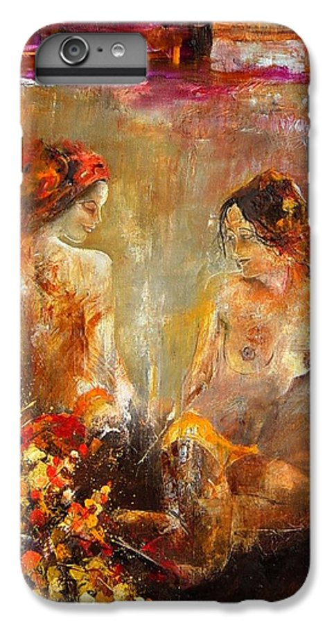 Girl Nude IPhone 6 Plus Case featuring the painting Two Nudes by Pol Ledent