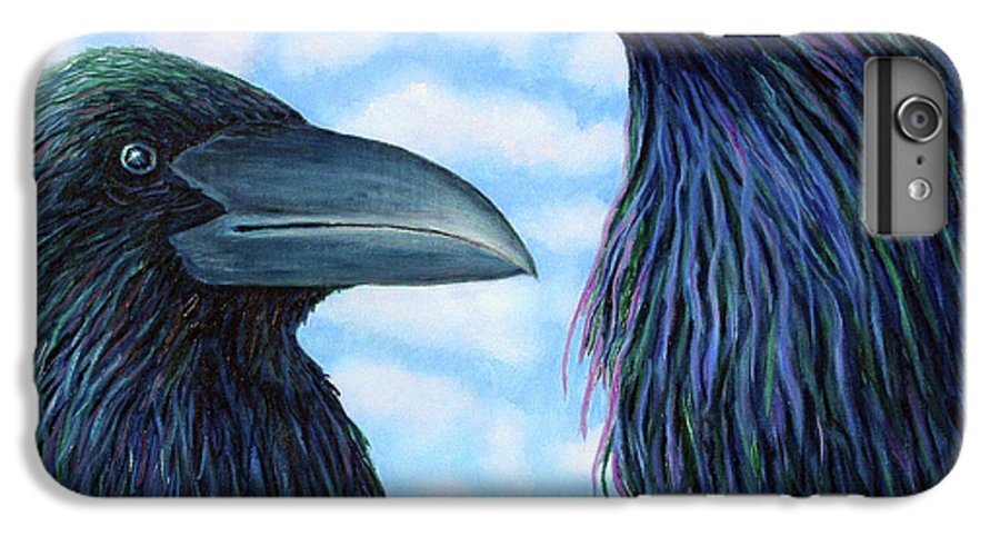 Raven IPhone 6 Plus Case featuring the painting Two Ravens by Brian Commerford