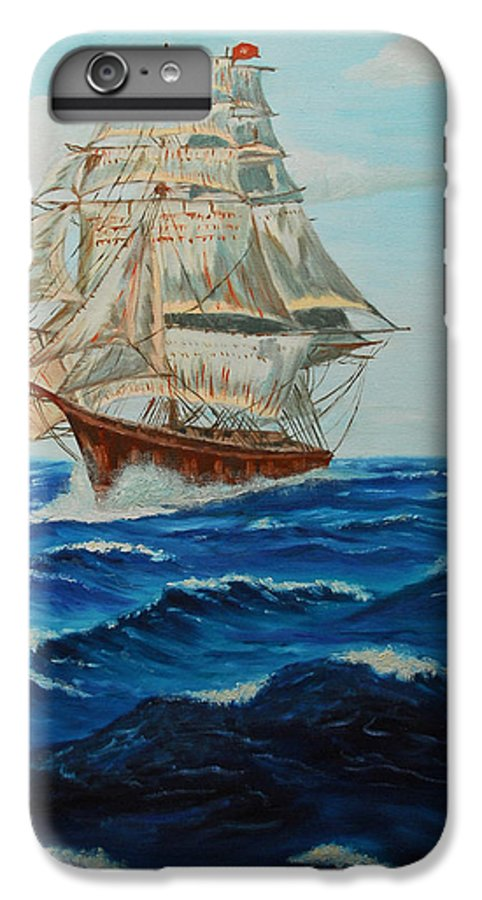 Ship IPhone 6 Plus Case featuring the painting Two Ships Sailing by Quwatha Valentine