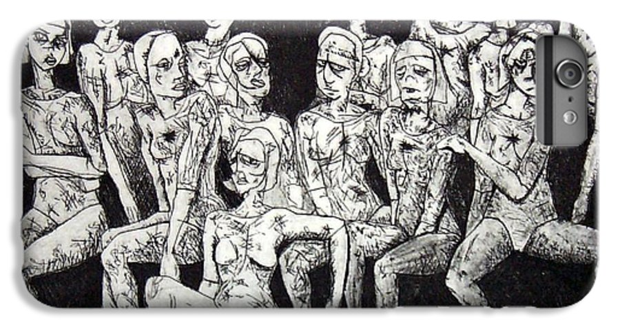 Etching IPhone 6 Plus Case featuring the print Ugly Girls by Thomas Valentine