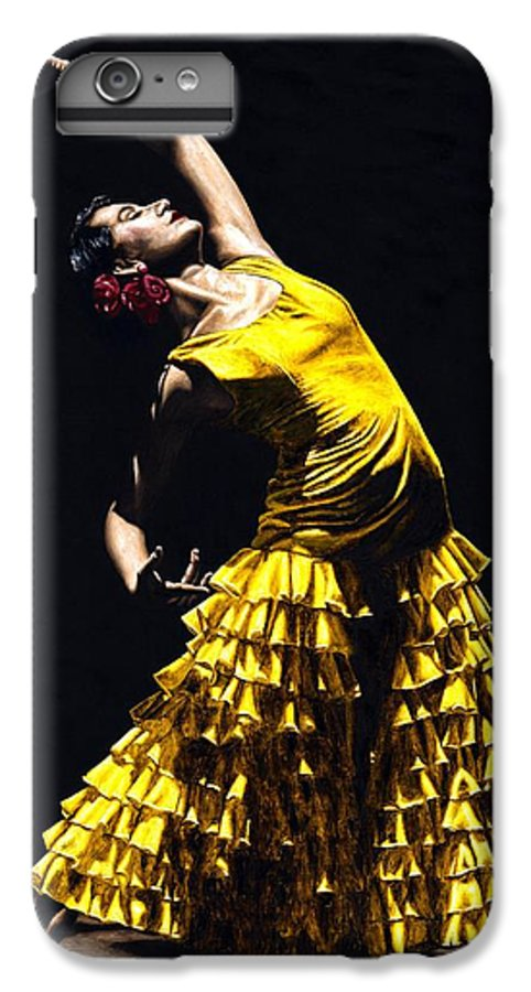 Flamenco IPhone 6 Plus Case featuring the painting Un Momento Intenso Del Flamenco by Richard Young
