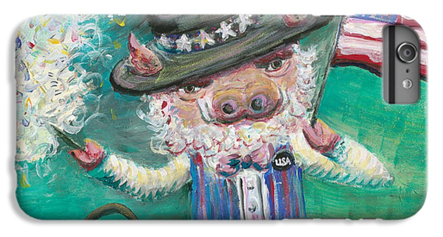 Fourth Of July IPhone 6 Plus Case featuring the painting Uncle Spam by Nadine Rippelmeyer
