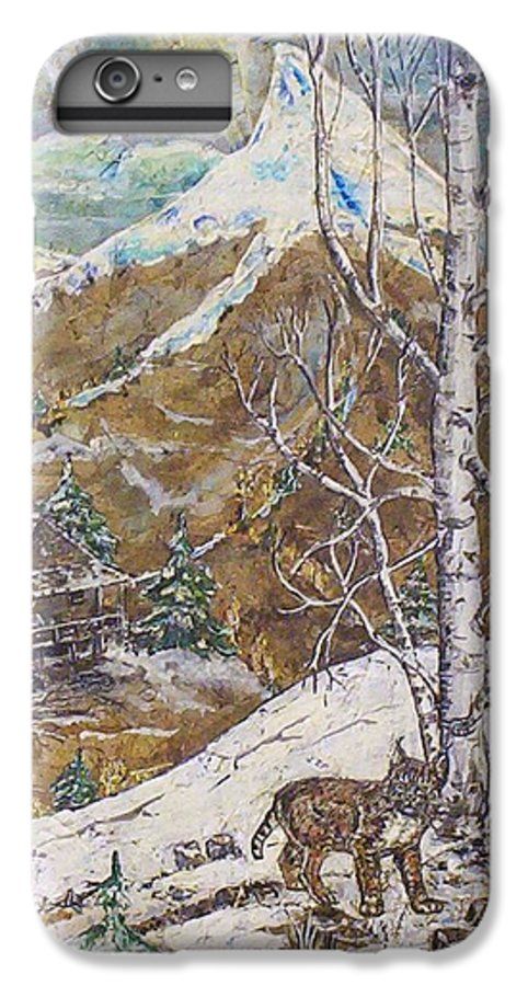 Snow Scene IPhone 6 Plus Case featuring the painting Unexpected Guest I by Phyllis Mae Richardson Fisher