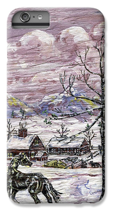 Snow Scene IPhone 6 Plus Case featuring the painting Unexpected Guest II by Phyllis Mae Richardson Fisher