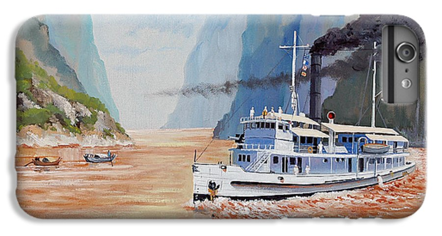 the Sand Pebbles IPhone 6 Plus Case featuring the painting Uss San Pablo On Yangtze River Patrol by Glenn Secrest