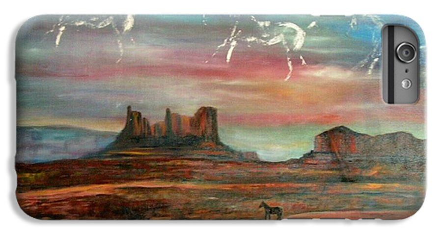Landscape IPhone 6 Plus Case featuring the painting Valley Of The Horses by Darla Joy Johnson