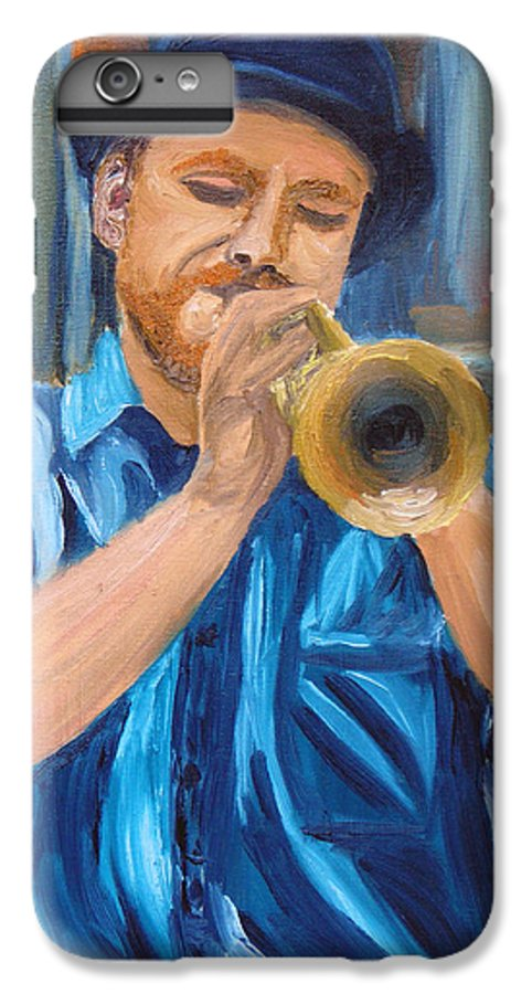 Musician IPhone 6 Plus Case featuring the painting Van Gogh Plays The Trumpet by Michael Lee