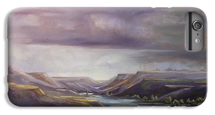 Landscape Water Mountains Sky Trees IPhone 6 Plus Case featuring the painting Vantage Vista by Ruth Stromswold