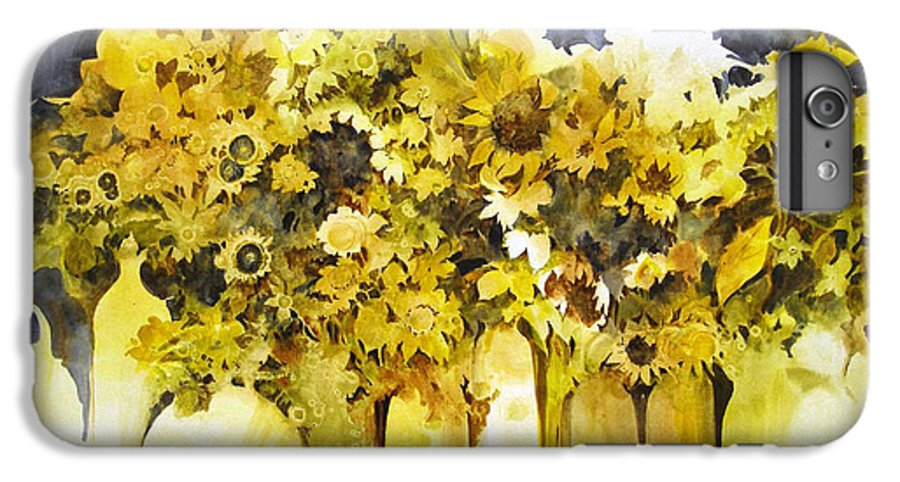 Yellow Flowers;sunflowers;vases;floral;contemporary Floral; IPhone 6 Plus Case featuring the painting Vases Full Of Blooms  by Lois Mountz