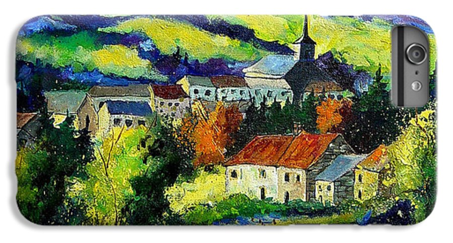 Landscape IPhone 6 Plus Case featuring the painting Village And Blue Poppies by Pol Ledent
