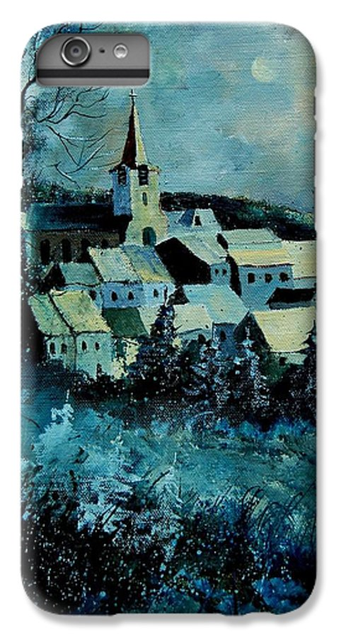 River IPhone 6 Plus Case featuring the painting Village In Winter by Pol Ledent