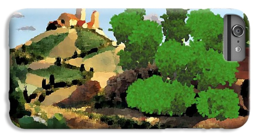 Village Old Road.trees.bushes.hill.littlt Tower.houses.farm.sky.clouds IPhone 6 Plus Case featuring the digital art Village. Tower On The Hill by Dr Loifer Vladimir