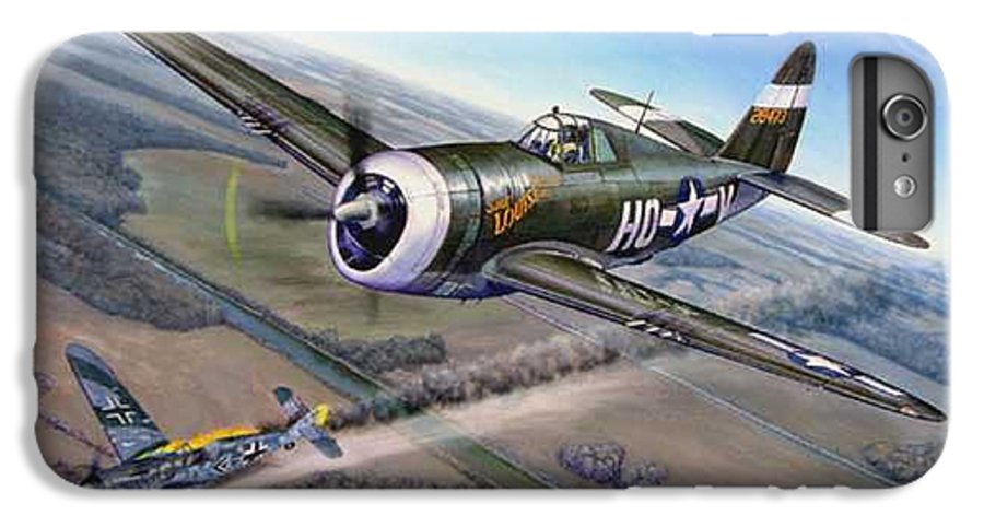 The 352nd Fighter Groups First Ace Shoots Down The German Ace Klaus Mietush On March 8th 1944 IPhone 6 Plus Case featuring the painting Virgil Meroney Downs Klaus Mietush by Scott Robertson