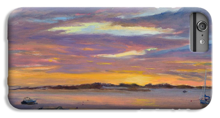 Landscape IPhone 6 Plus Case featuring the painting Wades Beach Sunset by Phyllis Tarlow