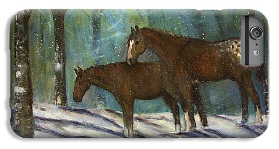 Horses IPhone 6 Plus Case featuring the painting Waiting For Spring by Darla Joy Johnson