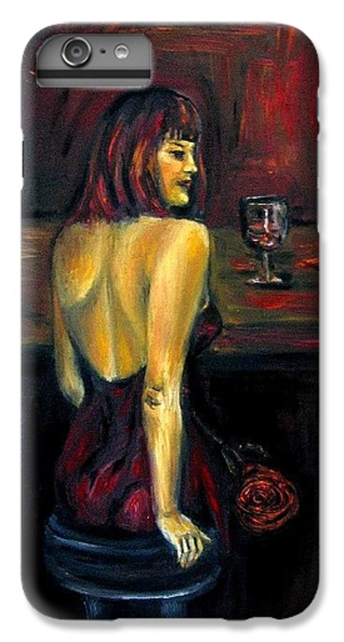 Woman IPhone 6 Plus Case featuring the painting Waiting... Oil Painting  by Natalja Picugina