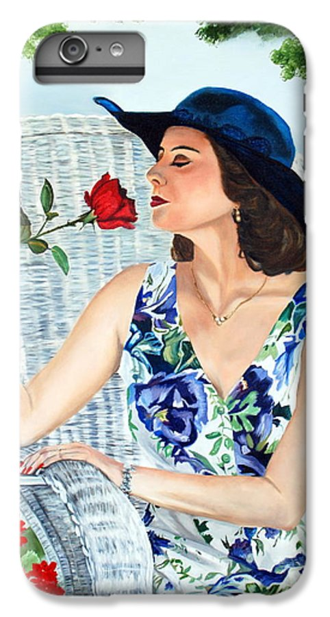 Woman IPhone 6 Plus Case featuring the painting Wake Up And Smell The Rose by Margaret Fortunato