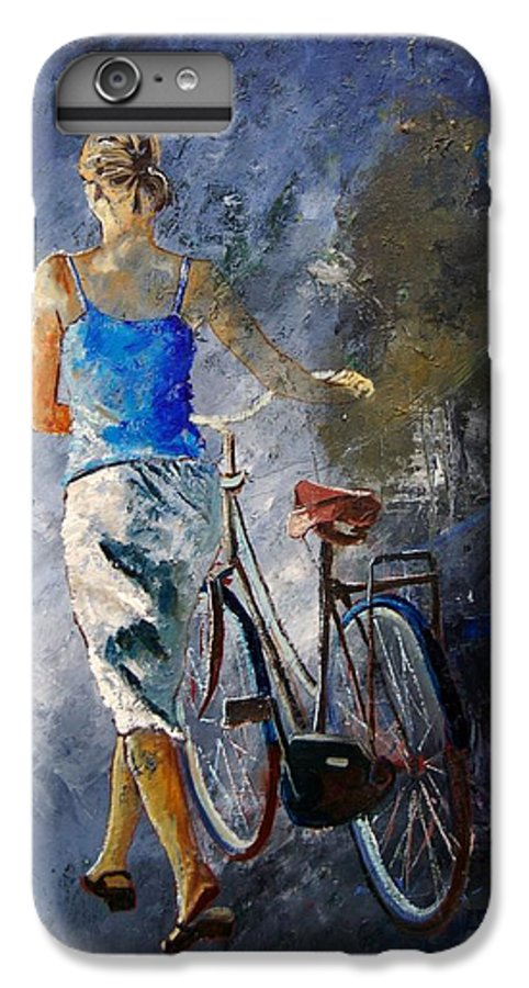 Girl IPhone 6 Plus Case featuring the painting Waking Aside Her Bike 68 by Pol Ledent