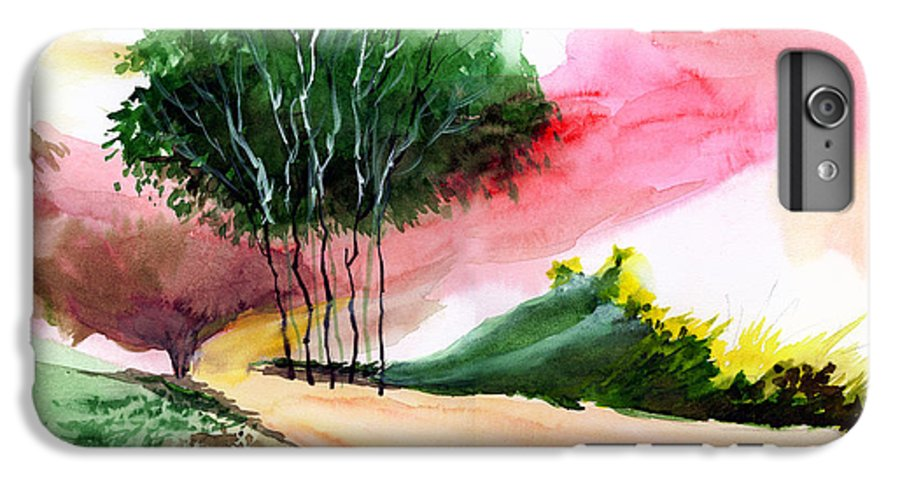 Watercolor IPhone 6 Plus Case featuring the painting Walk Away by Anil Nene