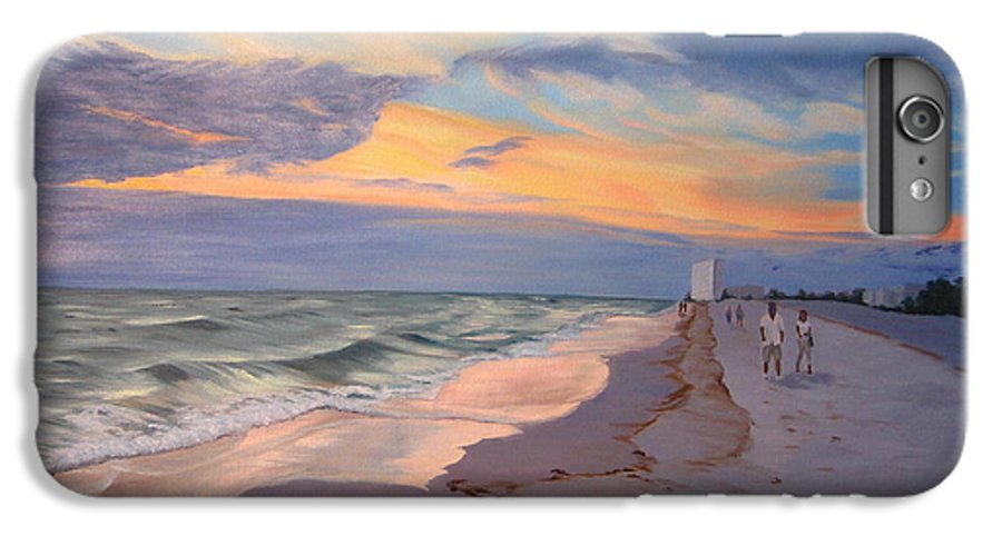 Seascape IPhone 6 Plus Case featuring the painting Walking On The Beach At Sunset by Lea Novak