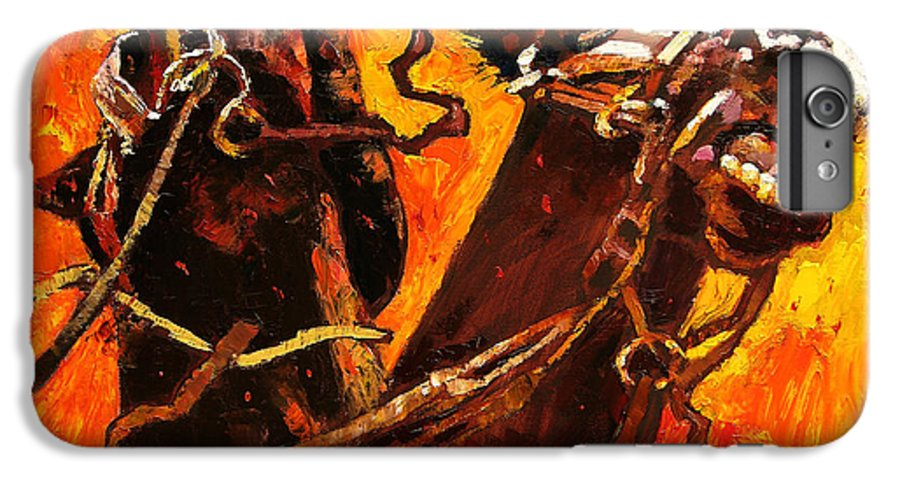 Horses IPhone 6 Plus Case featuring the painting War Horses by John Lautermilch