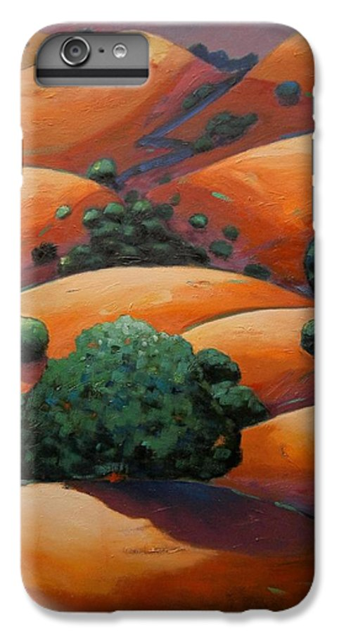 California Landscape IPhone 6 Plus Case featuring the painting Warm Afternoon Light On Ca Hillside by Gary Coleman