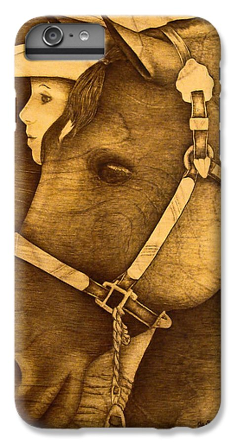 Pyrography;wood Burning; Horse; Western; Halter;cowboy; Hat; Rodeo; IPhone 6 Plus Case featuring the pyrography Watching The Competition by Jo Schwartz