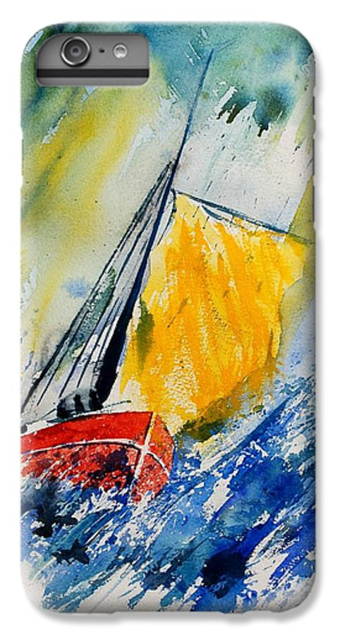 Sea Waves Ocean Boat Sailing IPhone 6 Plus Case featuring the painting Watercolor 280308 by Pol Ledent